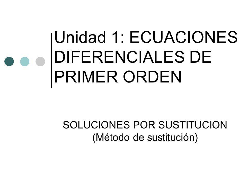 Unidad 1: ECUACIONES DIFERENCIALES DE PRIMER ORDEN SOLUCIONES POR SUSTITUCION (Método de sustitución)