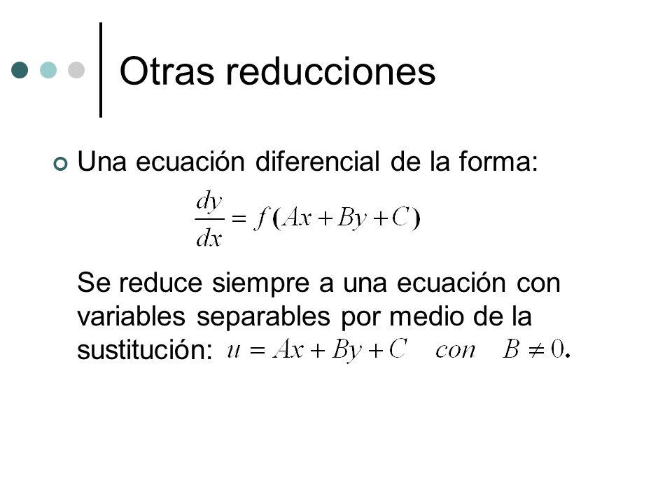 Otras reducciones Una ecuación diferencial de la forma: Se reduce siempre a una ecuación con variables separables por medio de la sustitución: