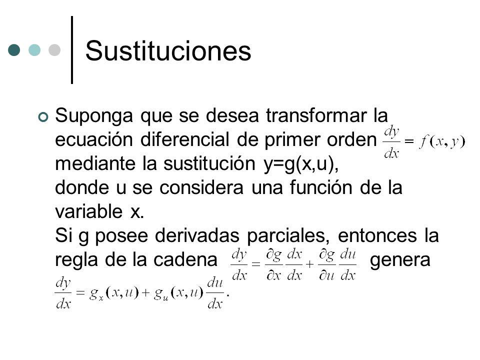 Sustituciones Suponga que se desea transformar la ecuación diferencial de primer orden mediante la sustitución y=g(x,u), donde u se considera una func