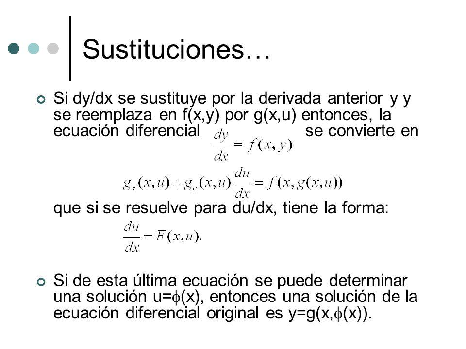 Sustituciones… Si dy/dx se sustituye por la derivada anterior y y se reemplaza en f(x,y) por g(x,u) entonces, la ecuación diferencial se convierte en