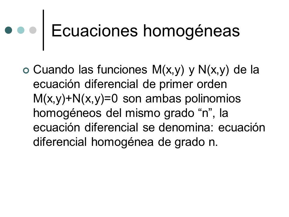 Ecuaciones homogéneas Cuando las funciones M(x,y) y N(x,y) de la ecuación diferencial de primer orden M(x,y)+N(x,y)=0 son ambas polinomios homogéneos