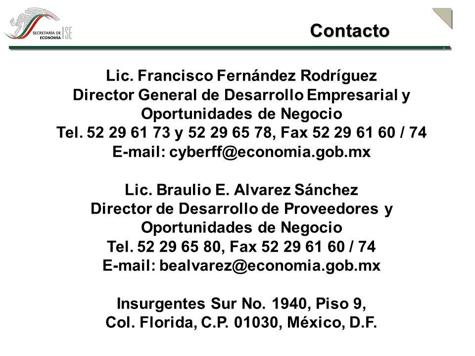 Lic. Francisco Fernández Rodríguez Director General de Desarrollo Empresarial y Oportunidades de Negocio Tel. 52 29 61 73 y 52 29 65 78, Fax 52 29 61