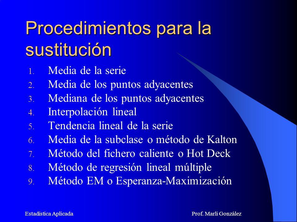 Estadística Aplicada Prof.Marli González Procedimientos para la sustitución 1.