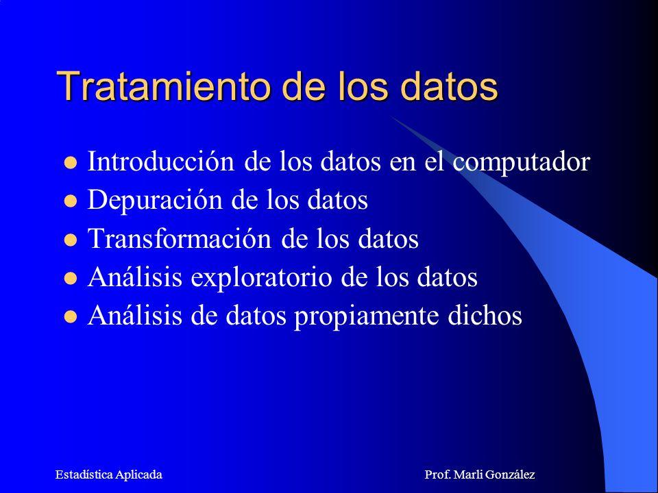 Estadística Aplicada Prof.Marli González ¿Por qué debemos analizar previamente los DATOS.