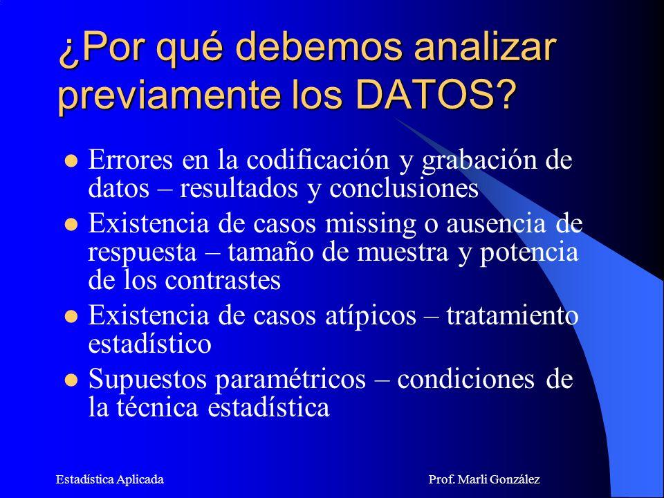 Estadística Aplicada Prof.