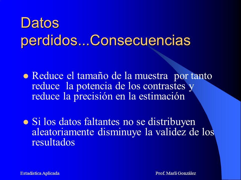 Estadística Aplicada Prof.Marli González ¿Qué hacer con los datos perdidos.