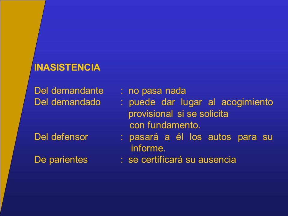 INASISTENCIA Del demandante: no pasa nada Del demandado: puede dar lugar al acogimiento provisional si se solicita con fundamento.