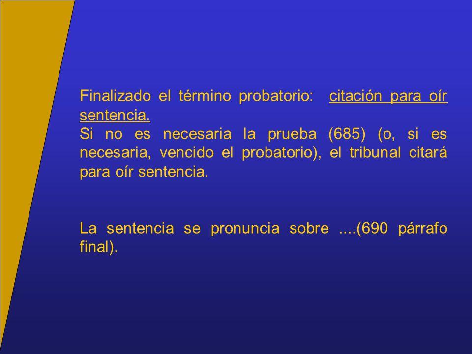 Finalizado el término probatorio: citación para oír sentencia.