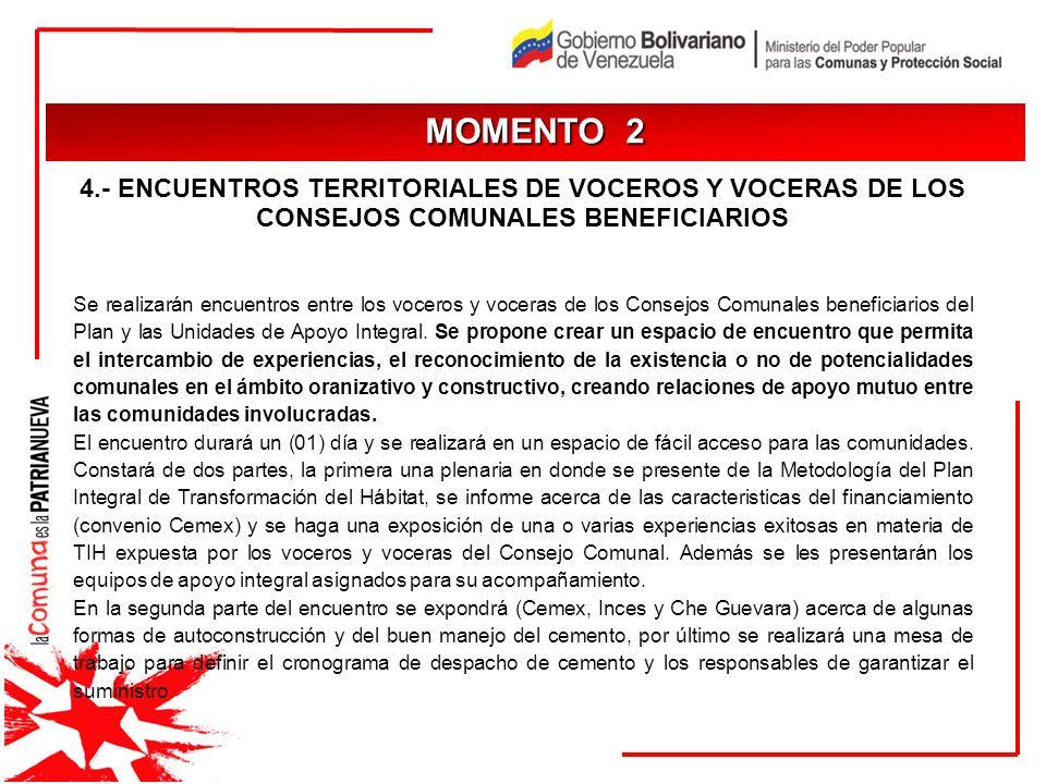 JUSTIFICACIÓN MOMENTO 2 4.- ENCUENTROS TERRITORIALES DE VOCEROS Y VOCERAS DE LOS CONSEJOS COMUNALES BENEFICIARIOS Se realizarán encuentros entre los v