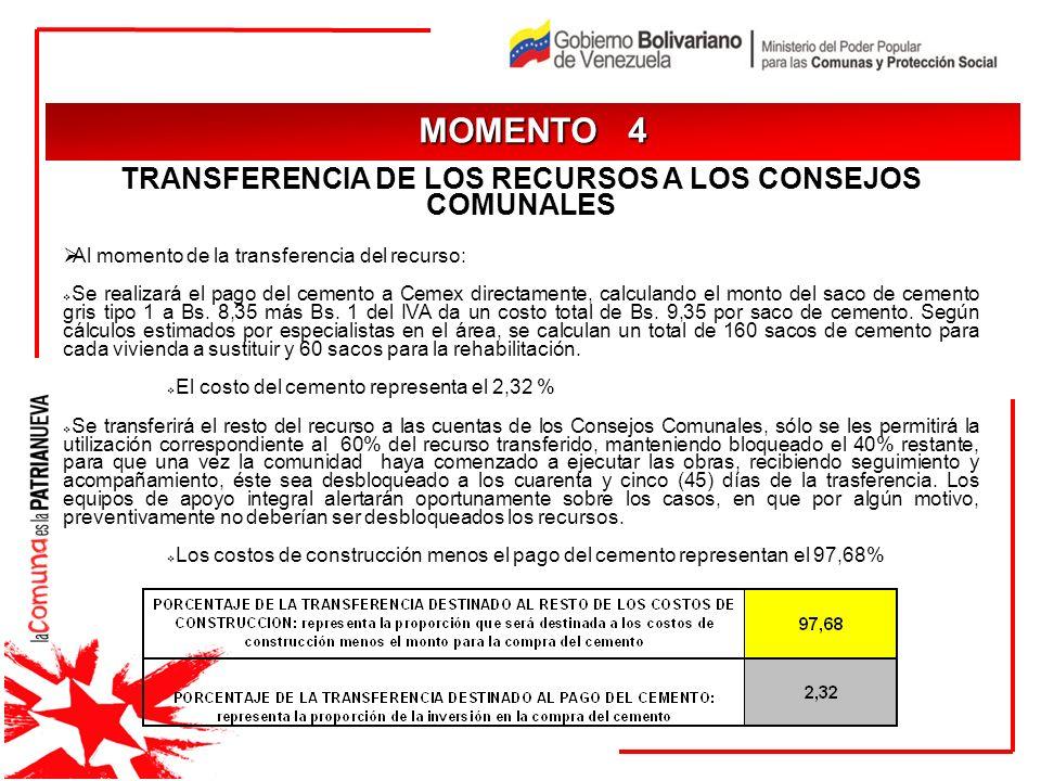 JUSTIFICACIÓN MOMENTO 4 TRANSFERENCIA DE LOS RECURSOS A LOS CONSEJOS COMUNALES Al momento de la transferencia del recurso: Se realizará el pago del ce