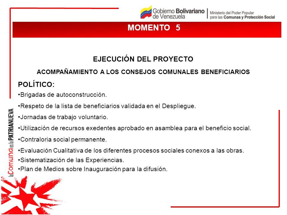 MOMENTO 5 EJECUCIÓN DEL PROYECTO ACOMPAÑAMIENTO A LOS CONSEJOS COMUNALES BENEFICIARIOS POLÍTICO: Brigadas de autoconstrucción. Respeto de la lista de