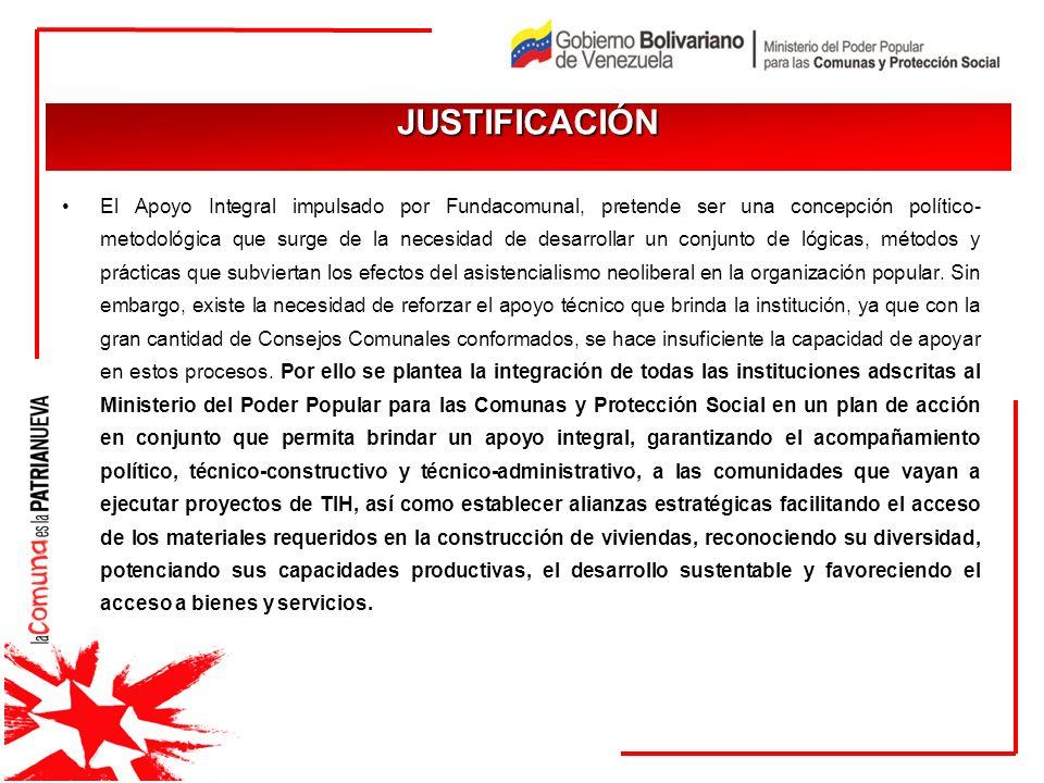 El Apoyo Integral impulsado por Fundacomunal, pretende ser una concepción político- metodológica que surge de la necesidad de desarrollar un conjunto