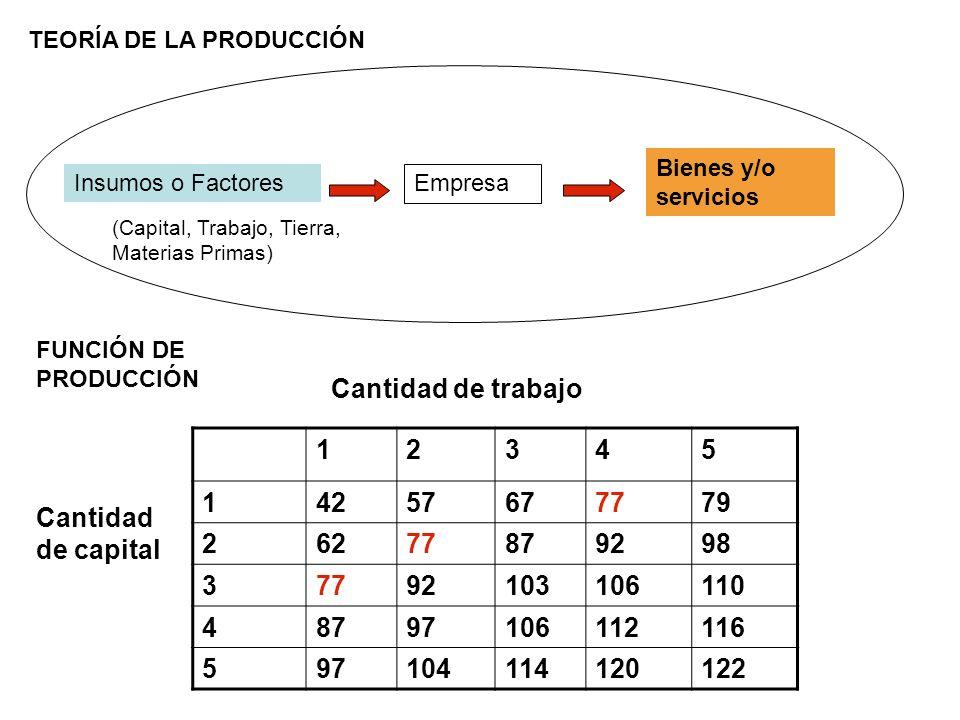 TEORÍA DE LA PRODUCCIÓN Empresa Insumos o Factores Bienes y/o servicios FUNCIÓN DE PRODUCCIÓN (Capital, Trabajo, Tierra, Materias Primas) 12345 142576