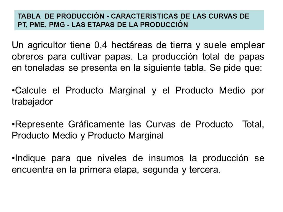 TABLA DE PRODUCCIÓN - CARACTERISTICAS DE LAS CURVAS DE PT, PME, PMG - LAS ETAPAS DE LA PRODUCCIÓN Un agricultor tiene 0,4 hectáreas de tierra y suele