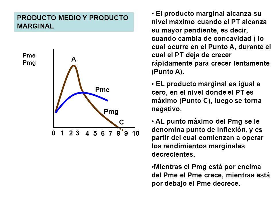 8 023 4567 9 10 1 Pme Pmg Pme Pmg PRODUCTO MEDIO Y PRODUCTO MARGINAL A C El producto marginal alcanza su nivel máximo cuando el PT alcanza su mayor pe