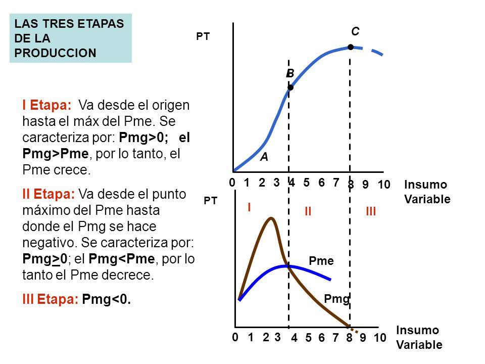 0234567 8910 1 A B C 8 023 4567 9 1 PT Insumo Variable PT Pme Pmg LAS TRES ETAPAS DE LA PRODUCCION Insumo Variable I IIIII I Etapa: Va desde el origen
