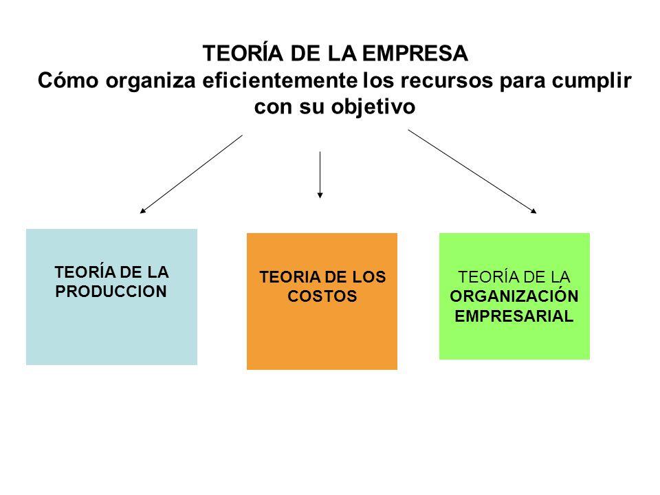 TEORÍA DE LA EMPRESA Cómo organiza eficientemente los recursos para cumplir con su objetivo TEORÍA DE LA PRODUCCION TEORIA DE LOS COSTOS TEORÍA DE LA