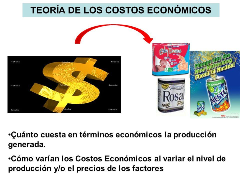 TEORÍA DE LOS COSTOS ECONÓMICOS Çuánto cuesta en términos económicos la producción generada. Cómo varían los Costos Económicos al variar el nivel de p