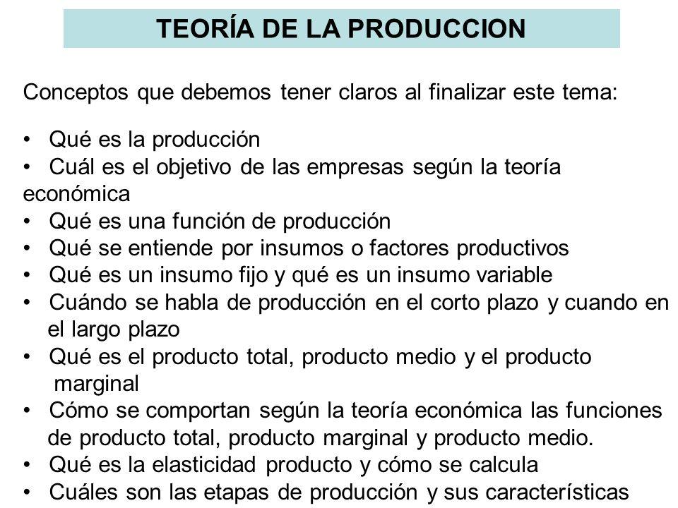 TEORÍA DE LA PRODUCCION Conceptos que debemos tener claros al finalizar este tema: Qué es la producción Cuál es el objetivo de las empresas según la t