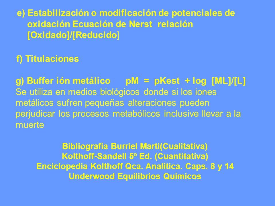 e) Estabilización o modificación de potenciales de oxidación Ecuación de Nerst relación [Oxidado]/[Reducido] f) Titulaciones g) Buffer ión metálico pM