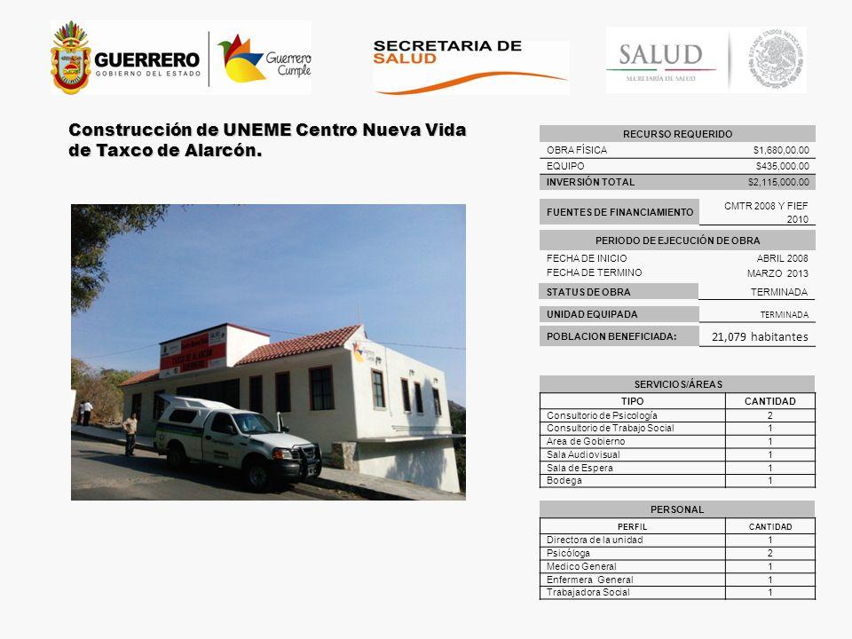 STATUS DE OBRATERMINADA UNIDAD EQUIPADA TERMINADA Construcción de UNEME Centro Nueva Vida de Taxco de Alarcón. POBLACION BENEFICIADA: 21,079 habitante