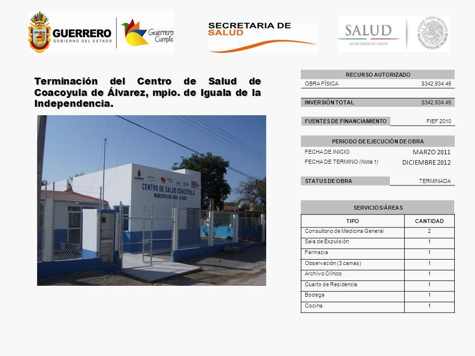 Terminación del Centro de Salud de Coacoyula de Álvarez, mpio. de Iguala de la Independencia. RECURSO AUTORIZADO OBRA FÍSICA$342,934.45 INVERSIÓN TOTA