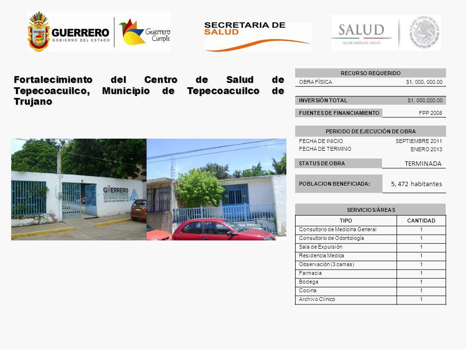 STATUS DE OBRA TERMINADA Fortalecimiento del Centro de Salud de Tepecoacuilco, Municipio de Tepecoacuilco de Trujano POBLACION BENEFICIADA: 5, 472 hab