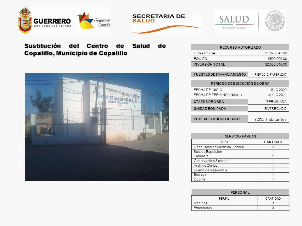 Terminación del Centro de Salud de Coacoyula de Álvarez, mpio.