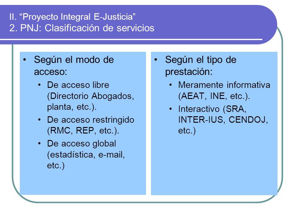 II. Proyecto Integral E-Justicia 2. PNJ: Clasificación de servicios Según el modo de acceso: De acceso libre (Directorio Abogados, planta, etc.). De a