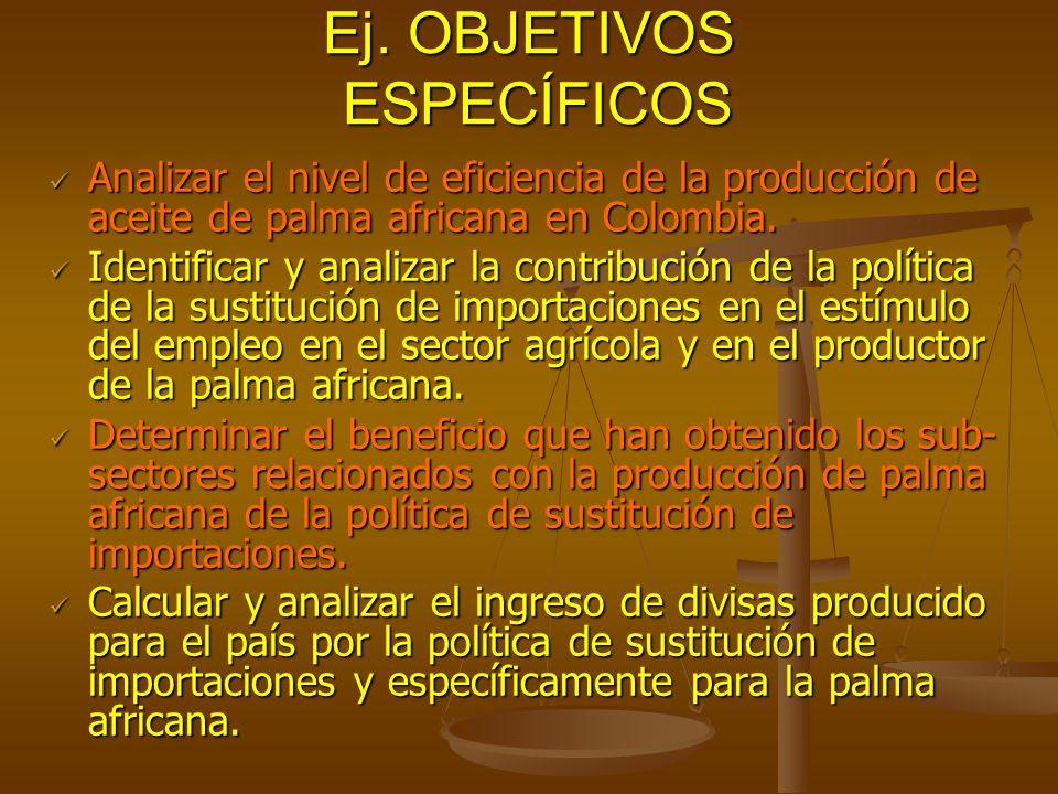 Ej. OBJETIVOS ESPECÍFICOS Analizar el nivel de eficiencia de la producción de aceite de palma africana en Colombia. Analizar el nivel de eficiencia de