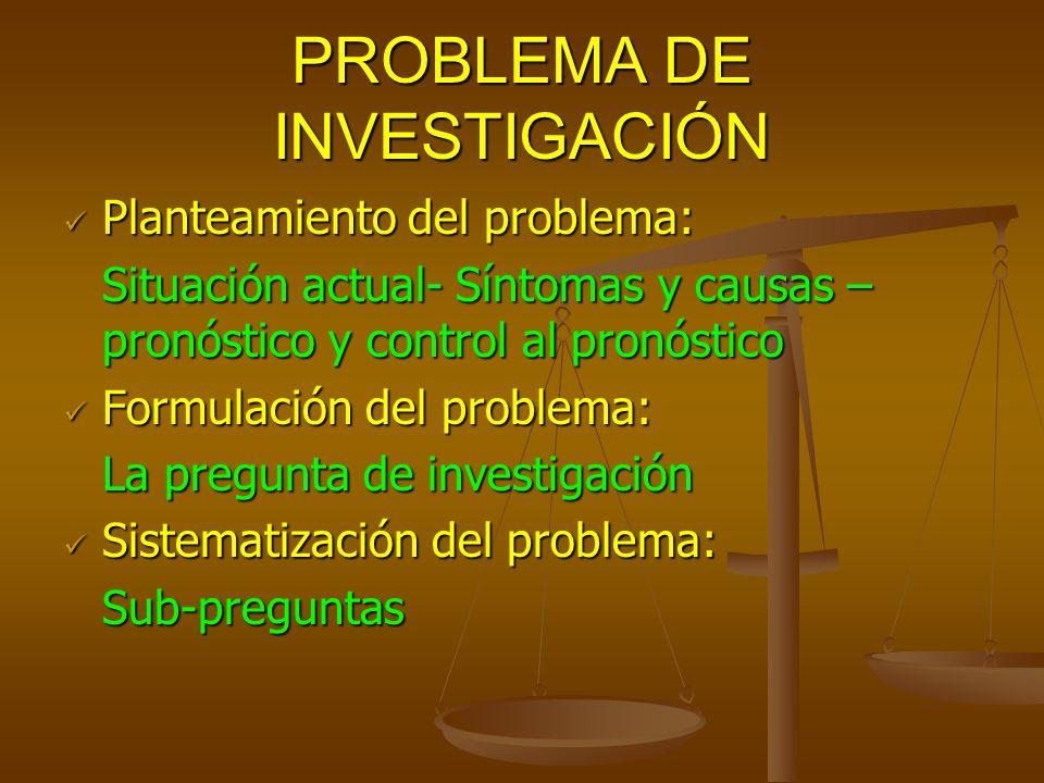 PROBLEMA DE INVESTIGACIÓN Planteamiento del problema: Planteamiento del problema: Situación actual- Síntomas y causas – pronóstico y control al pronós
