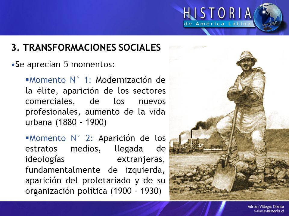 3. TRANSFORMACIONES SOCIALES Se aprecian 5 momentos: Momento N° 1: Modernización de la élite, aparición de los sectores comerciales, de los nuevos pro