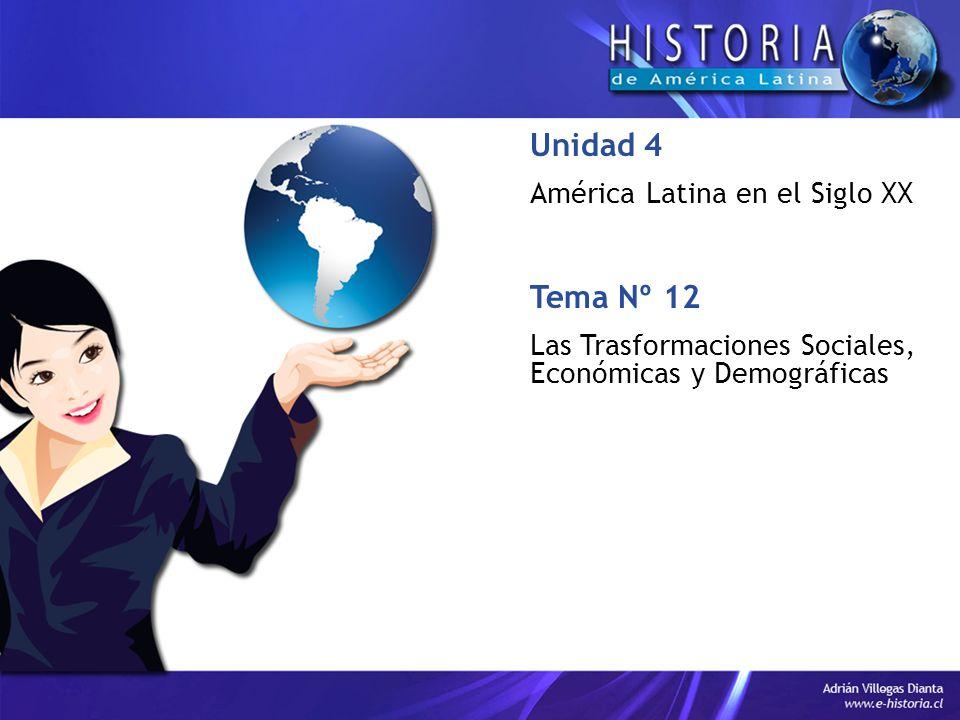 Tema Nº 12 Las Trasformaciones Sociales, Económicas y Demográficas Unidad 4 América Latina en el Siglo XX