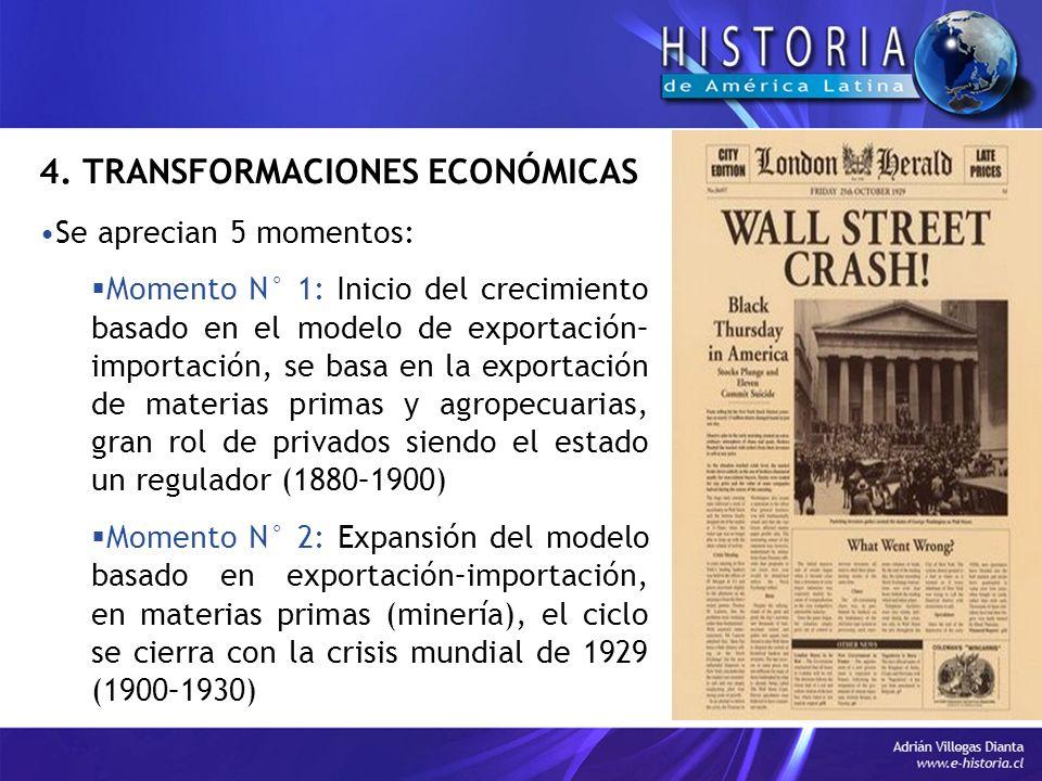 4. TRANSFORMACIONES ECONÓMICAS Se aprecian 5 momentos: Momento N° 1: Inicio del crecimiento basado en el modelo de exportación– importación, se basa e