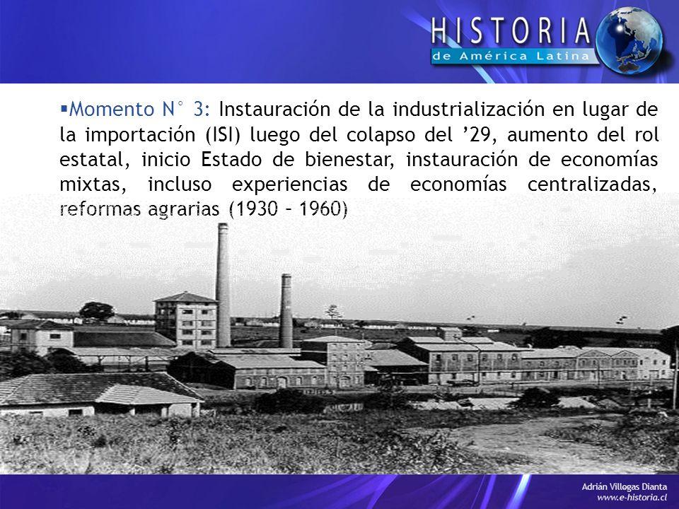 Momento N° 3: Instauración de la industrialización en lugar de la importación (ISI) luego del colapso del 29, aumento del rol estatal, inicio Estado de bienestar, instauración de economías mixtas, incluso experiencias de economías centralizadas, reformas agrarias (1930 – 1960)