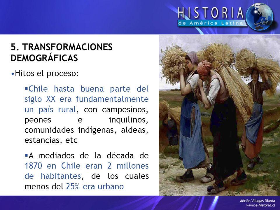 5. TRANSFORMACIONES DEMOGRÁFICAS Hitos el proceso: Chile hasta buena parte del siglo XX era fundamentalmente un país rural, con campesinos, peones e i