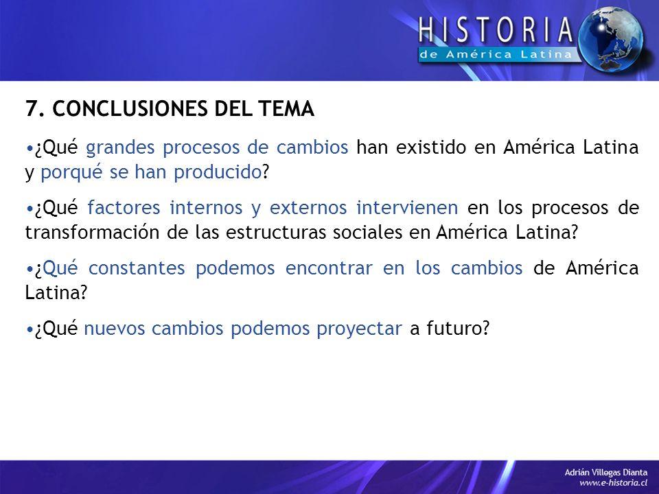 7. CONCLUSIONES DEL TEMA ¿Qué grandes procesos de cambios han existido en América Latina y porqué se han producido? ¿Qué factores internos y externos