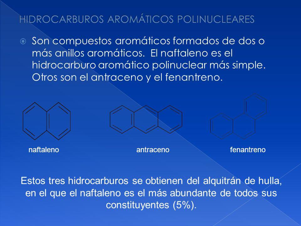 Son compuestos aromáticos formados de dos o más anillos aromáticos. El naftaleno es el hidrocarburo aromático polinuclear más simple. Otros son el ant