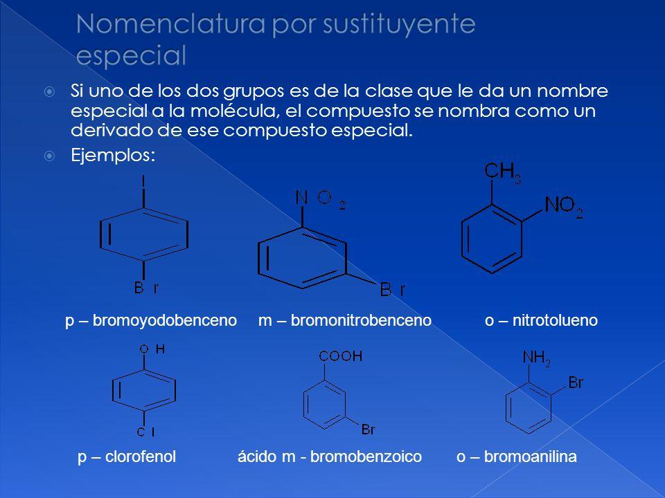 Si uno de los dos grupos es de la clase que le da un nombre especial a la molécula, el compuesto se nombra como un derivado de ese compuesto especial.
