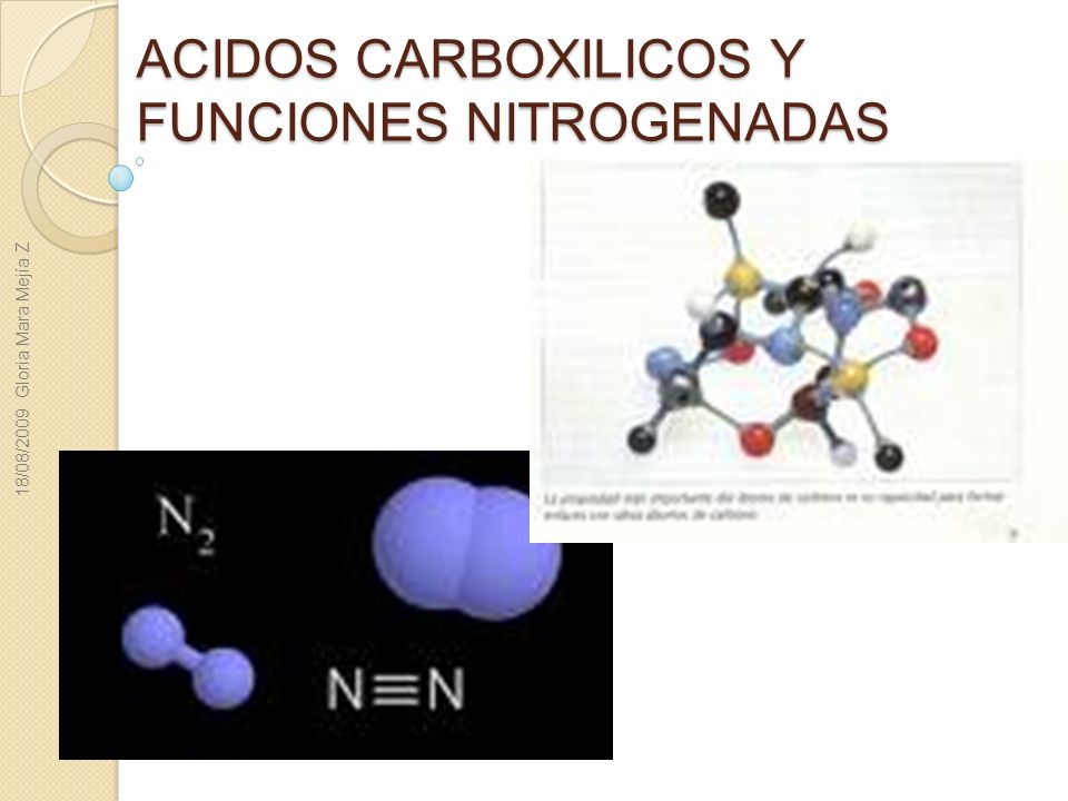 ACIDOS CARBOXILICOS Y FUNCIONES NITROGENADAS 18/08/2009 Gloria Mara Mejía Z
