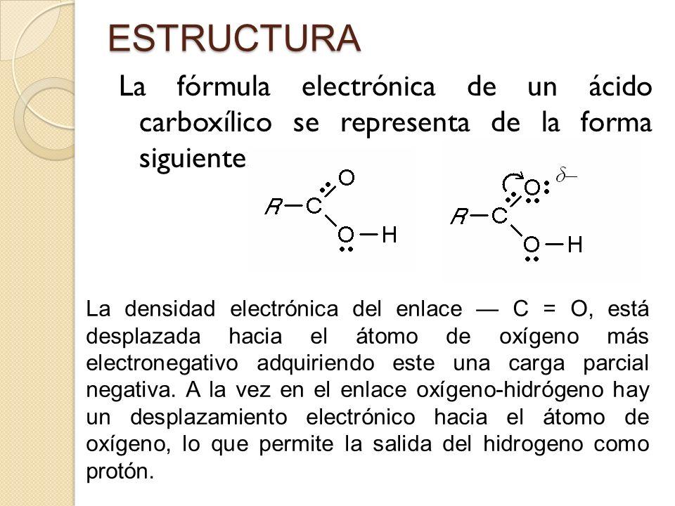 ESTRUCTURA La fórmula electrónica de un ácido carboxílico se representa de la forma siguiente: La densidad electrónica del enlace C = O, está desplaza