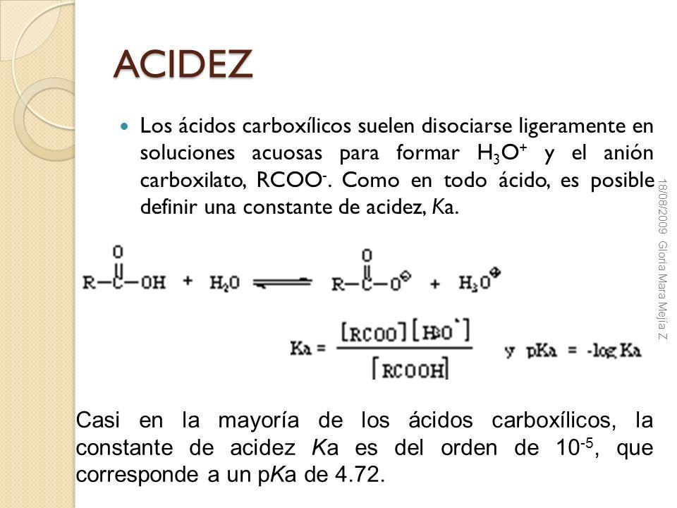 ACIDEZ Los ácidos carboxílicos suelen disociarse ligeramente en soluciones acuosas para formar H 3 O + y el anión carboxilato, RCOO -. Como en todo ác