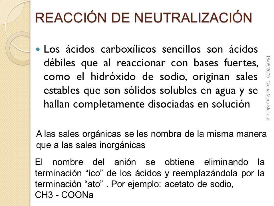 REACCIÓN DE NEUTRALIZACIÓN Los ácidos carboxílicos sencillos son ácidos débiles que al reaccionar con bases fuertes, como el hidróxido de sodio, origi