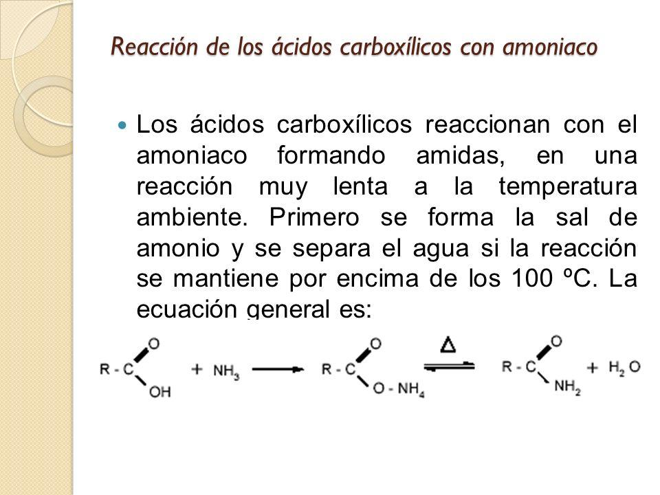 Reacción de los ácidos carboxílicos con amoniaco Los ácidos carboxílicos reaccionan con el amoniaco formando amidas, en una reacción muy lenta a la te