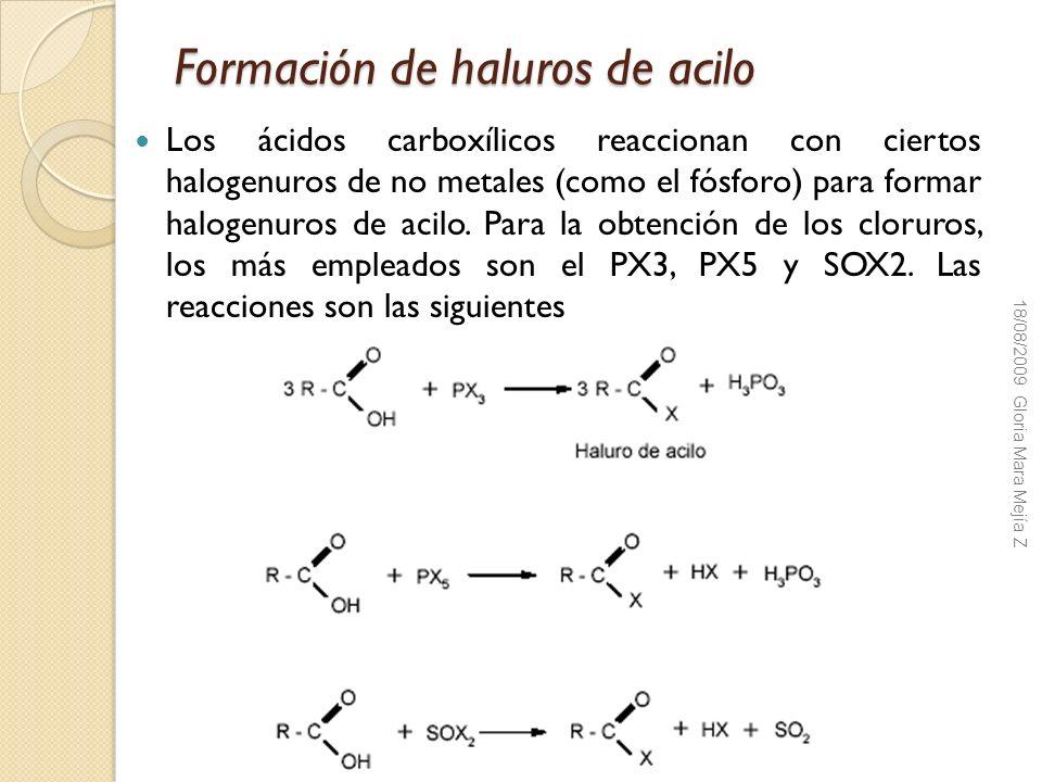 Formación de haluros de acilo Los ácidos carboxílicos reaccionan con ciertos halogenuros de no metales (como el fósforo) para formar halogenuros de ac
