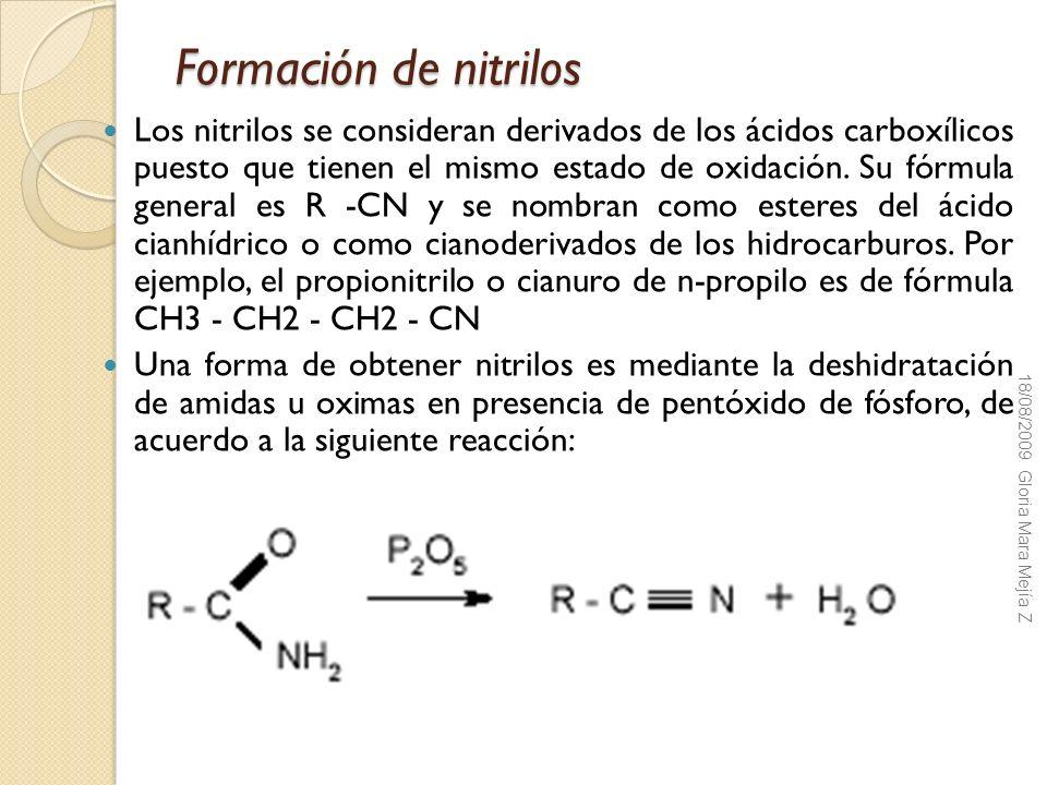 Formación de nitrilos Los nitrilos se consideran derivados de los ácidos carboxílicos puesto que tienen el mismo estado de oxidación. Su fórmula gener
