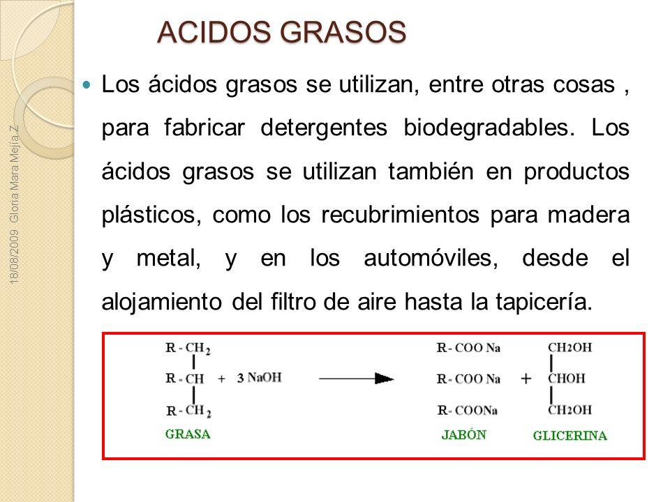 ACIDOS GRASOS Los ácidos grasos se utilizan, entre otras cosas, para fabricar detergentes biodegradables. Los ácidos grasos se utilizan también en pro