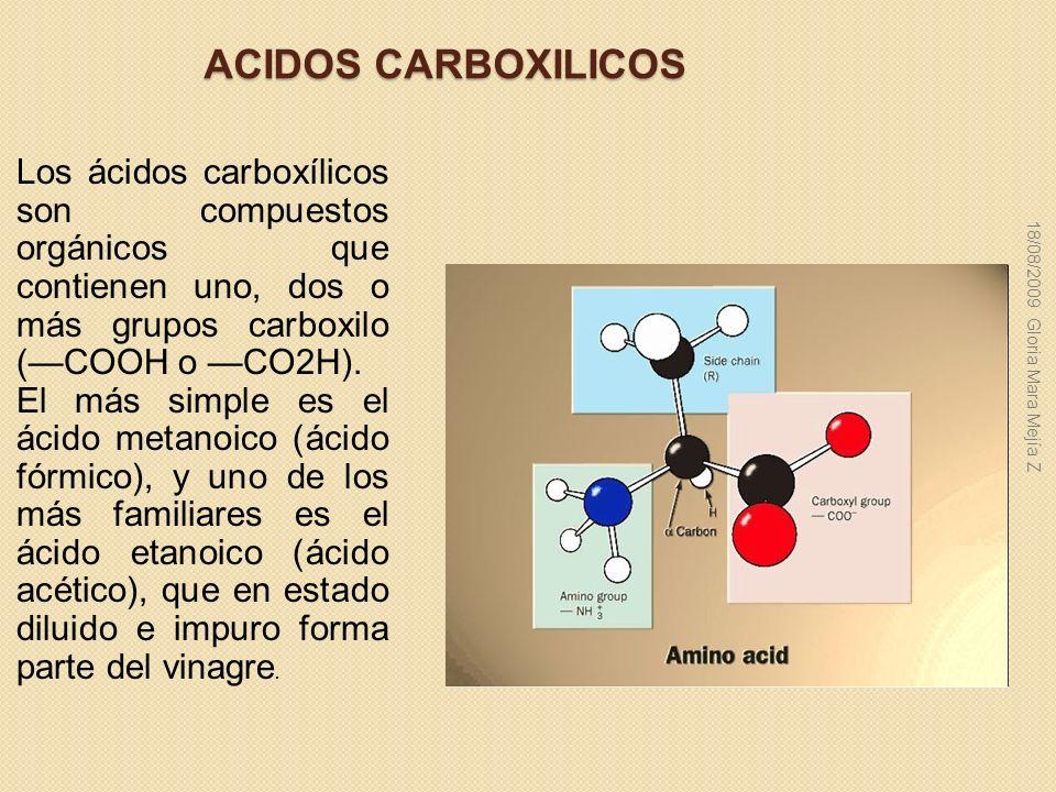 ACIDOS CARBOXILICOS Los ácidos carboxílicos son compuestos orgánicos que contienen uno, dos o más grupos carboxilo (COOH o CO2H). El más simple es el