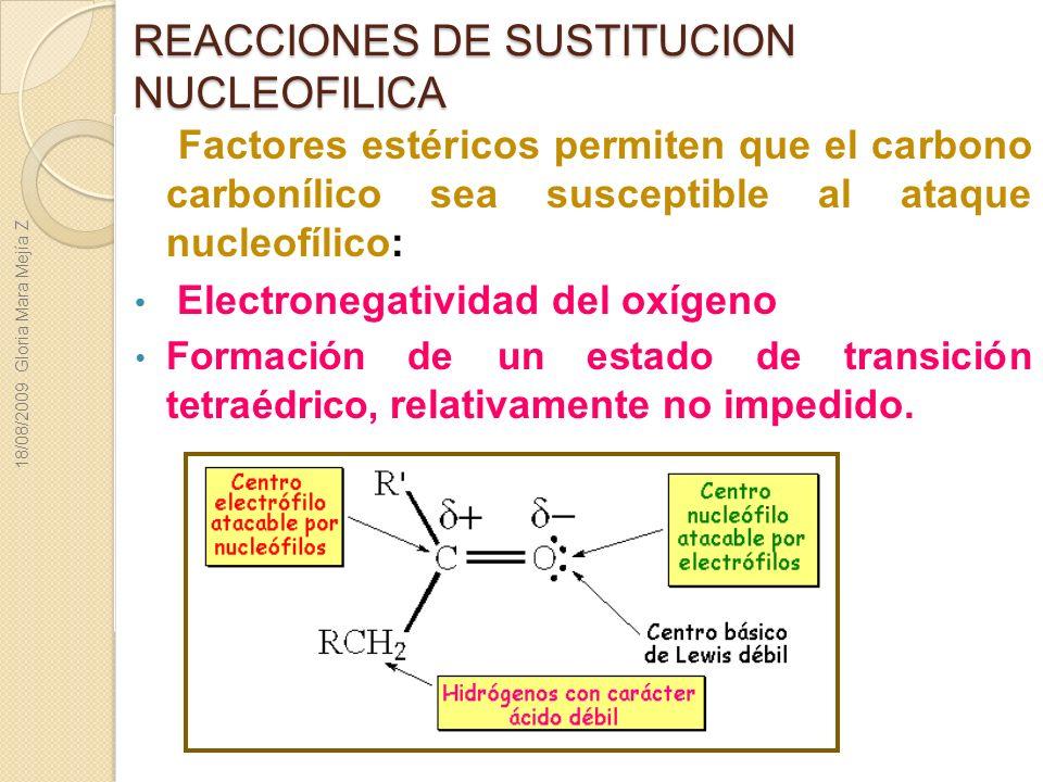 REACCIONES DE SUSTITUCION NUCLEOFILICA Factores estéricos permiten que el carbono carbonílico sea susceptible al ataque nucleofílico: Electronegativid