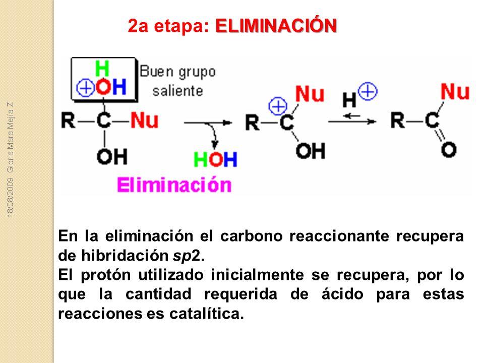 ELIMINACIÓN 2a etapa: ELIMINACIÓN En la eliminación el carbono reaccionante recupera de hibridación sp2. El protón utilizado inicialmente se recupera,
